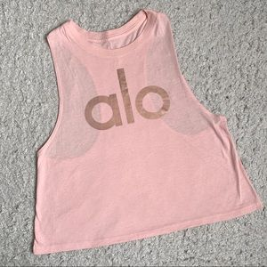 Alo Yoga pink tank top